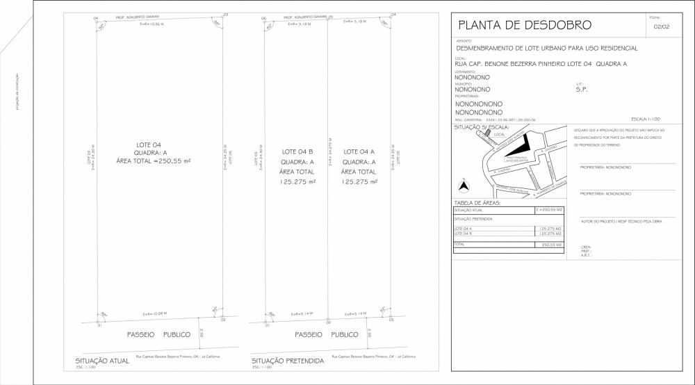 Desmembramento de Terreno em Pirituba - Desdobro de Terreno Preço
